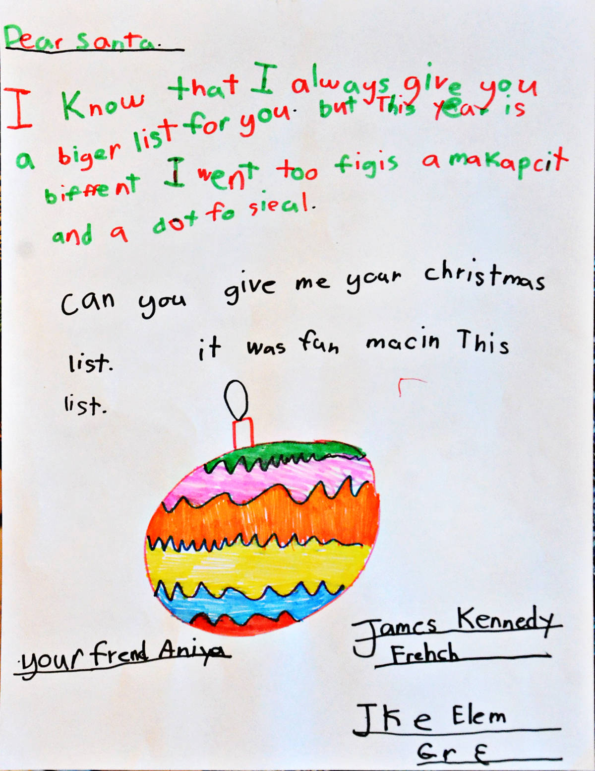 Aniya, grade 3, James Kennedy Elementary