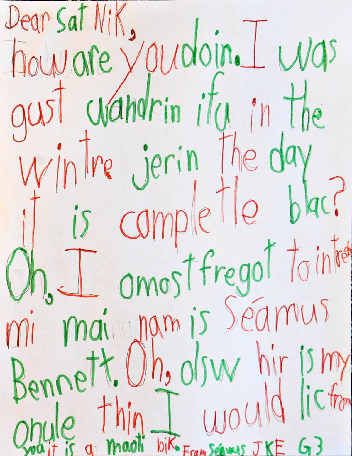 Seamus, Grade 3, James Kennedy Elementary
