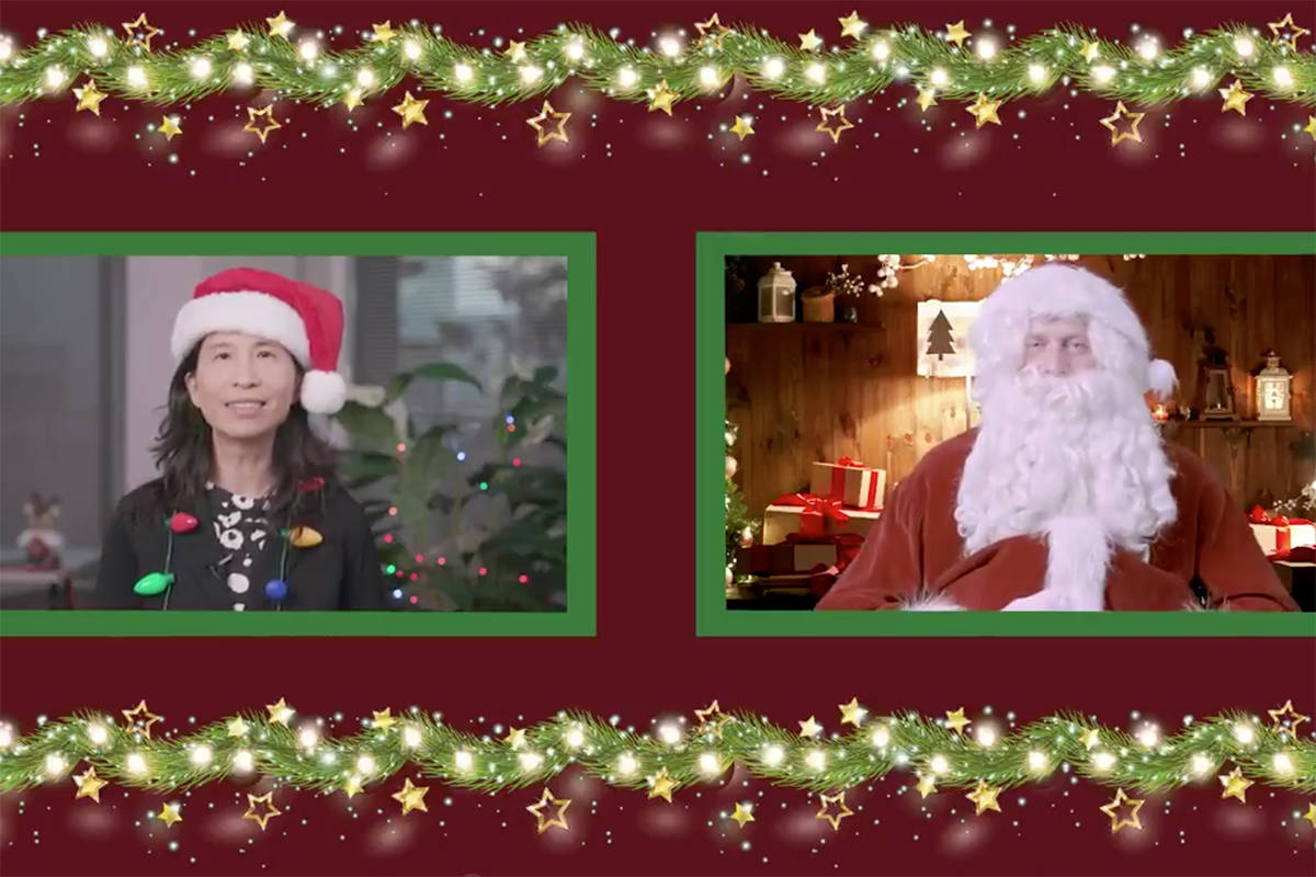 Canada's chief medical officer Dr. Theresa Tam chats with Santa Claus on Zoom in December 2020. (Twitter)