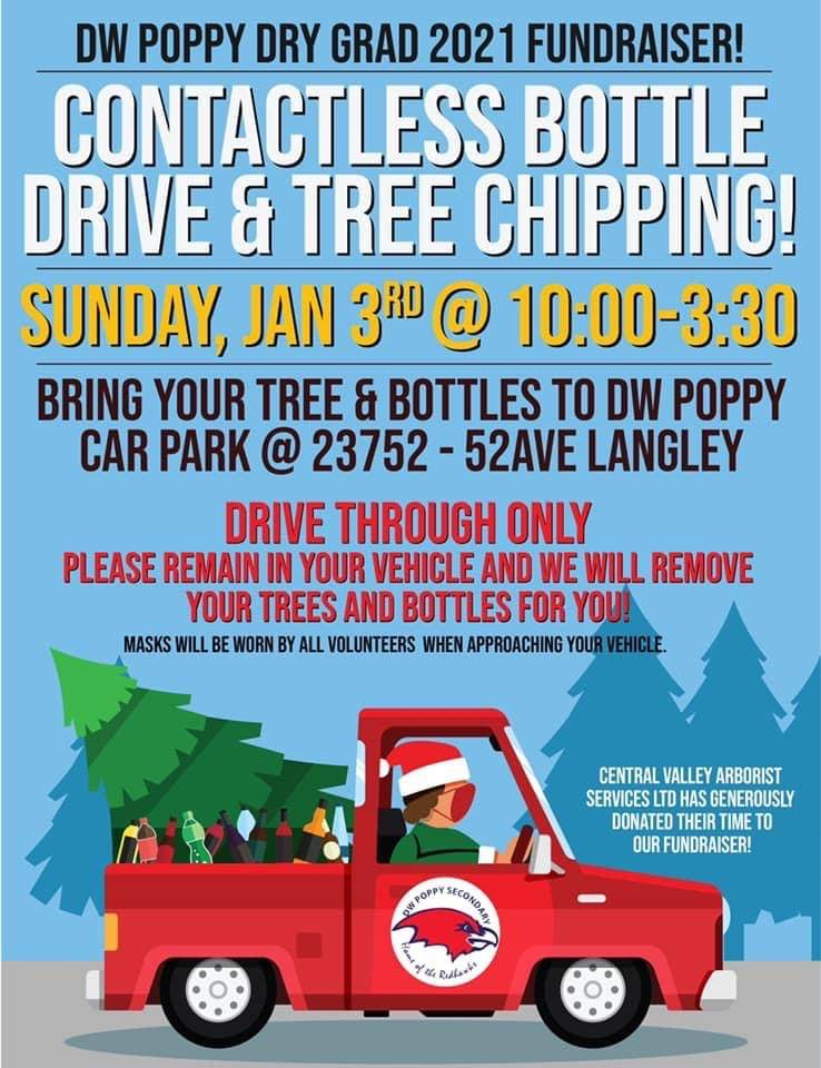 There will be a contactless bottle drive and tree chipping for the D.W. Poppy dry grad 2021 at the school, which is located at 23752 – 52nd Ave., on Sunday, Jan. 3, from 10:00 a.m. to 3:30 p.m. (Lisa Butt/special to Langley Advance Times)