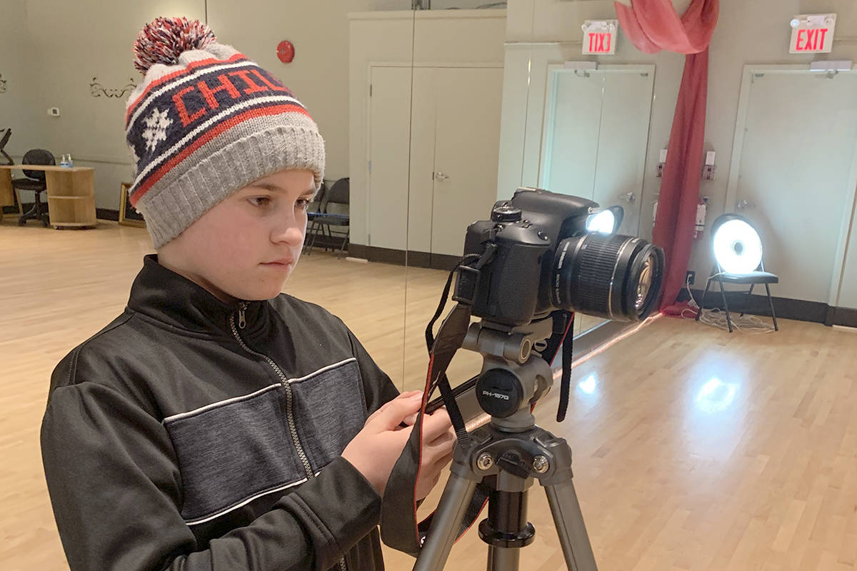 Colbran, 11, handled the camera work for the Dancing for Dessert studio Christmas Dance Challenge. (Dancing for Desserts pohto/Special to the Langley Advance Times)