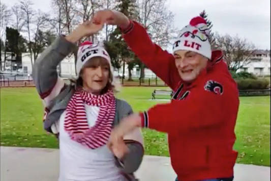 People taking part in the Christmas Dance Challenge could submit videos, such as this one filmed at Douglas Park, or book sessions at the Dancing for Dessert studio. (Screen grab)