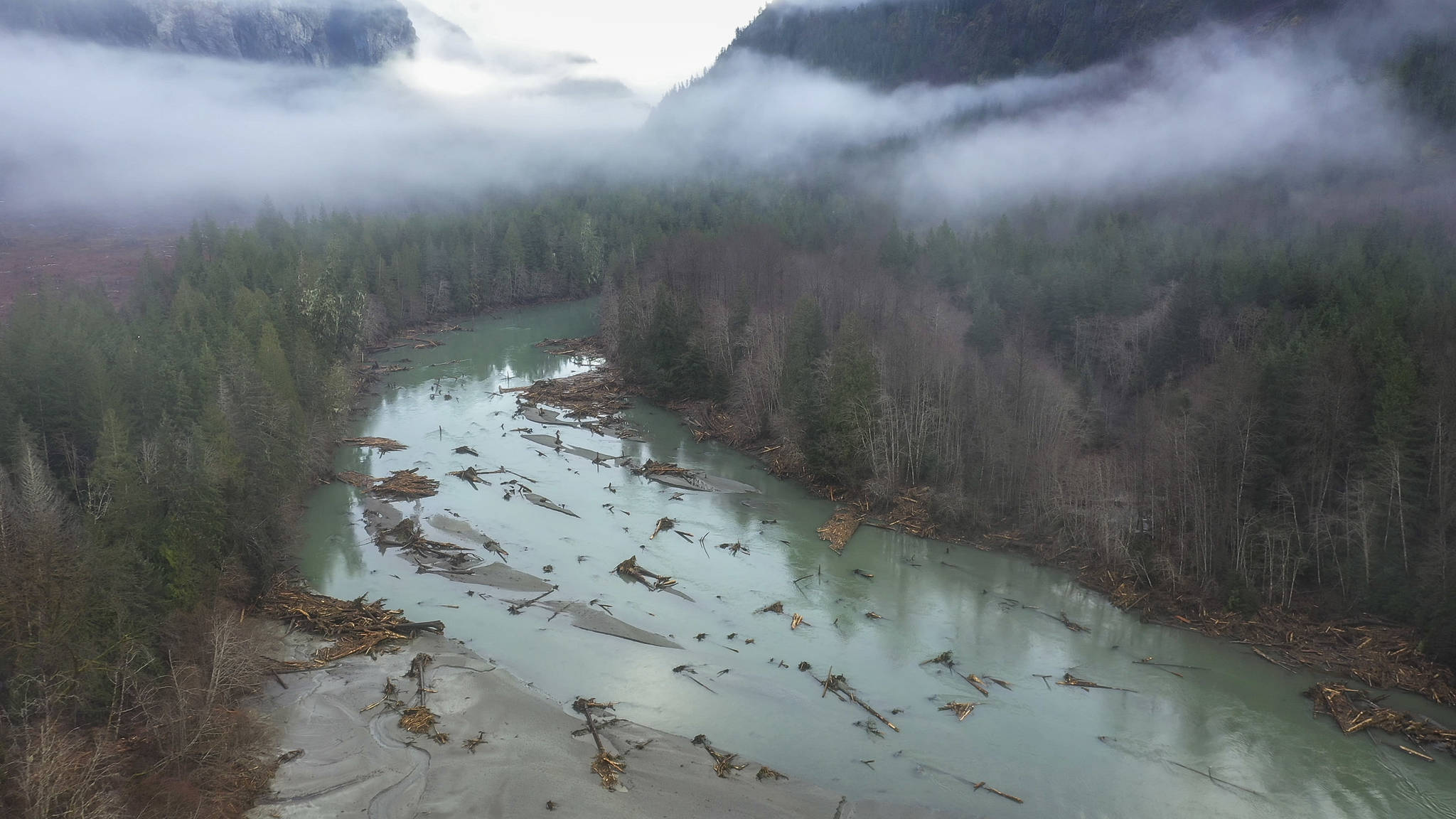 The slide swamped the Southgate River, around 13 km downhill from the initial incident. Photo supplied by Hakai Institute.
