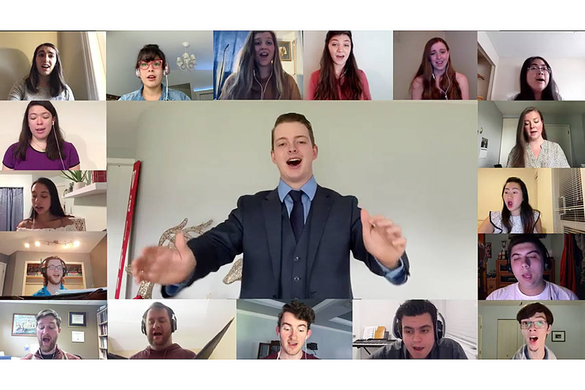 Trinity Western University music major Colin Jamieson conducted an online performance of his choir composition, with singers as far away as Qatar. It was posted online at www.twu.ca on Wednesday, Dec. 23, 2020 (Video clip)