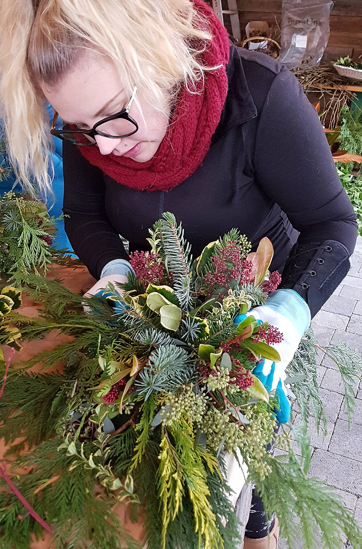 Jessica created a centrepiece out of clippings from the garden. (Pam Erikson/Special to Black Press Media)