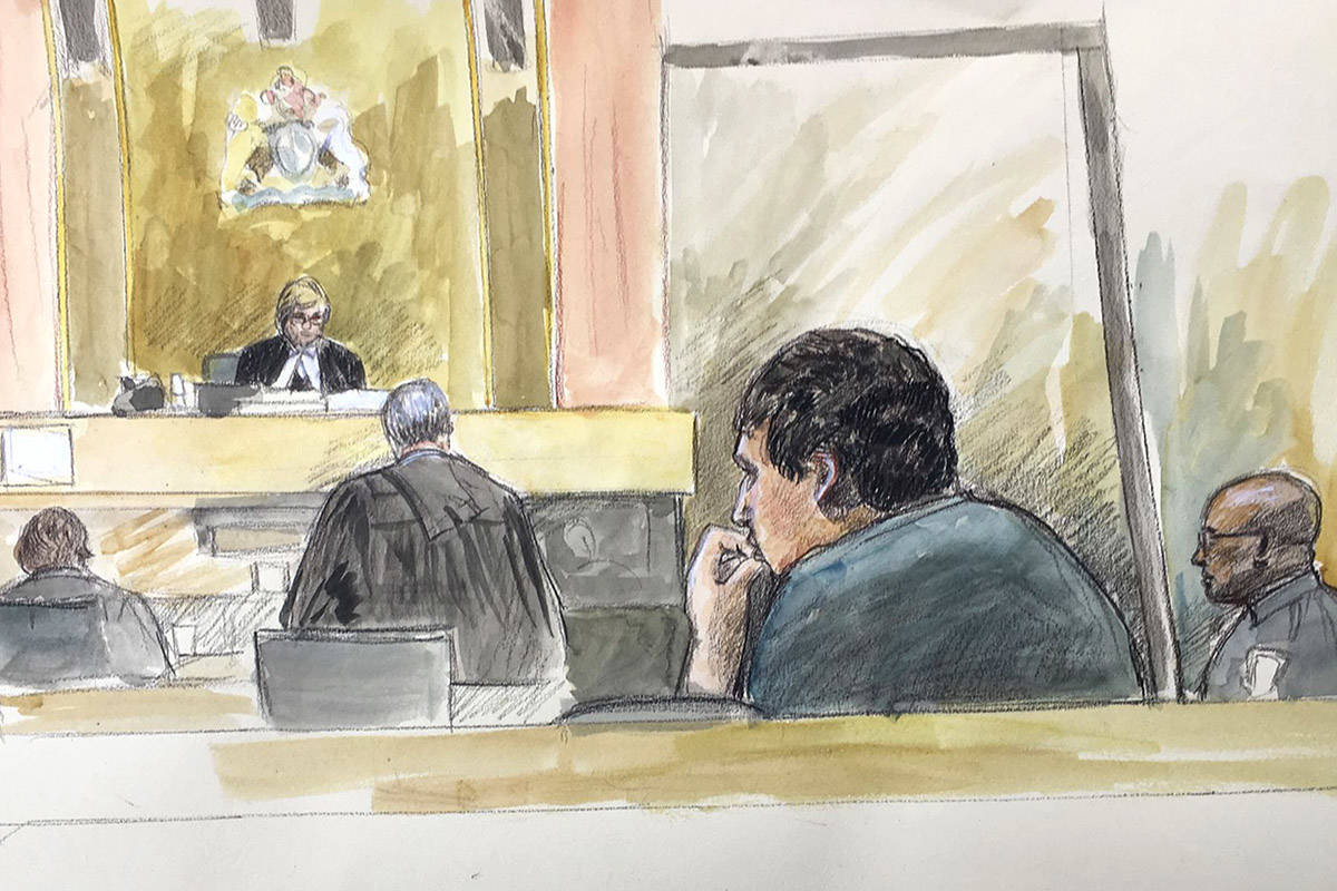 An artist's sketch depicts Gabriel Klein in court during a hearing in April 2018 at B.C. Supreme Court in New Westminster. (Sketch by Sheila Allan)