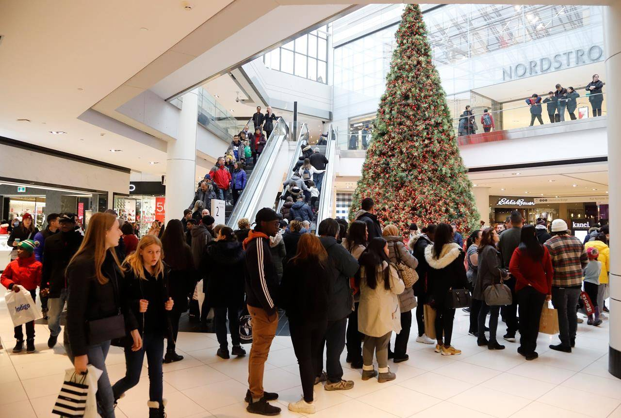 Shoppers take advantage of Boxing Day deals at the Rideau Centre in Ottawa, Thursday, Dec. 26, 2019. THE CANADIAN PRESS/ Patrick Doyle
