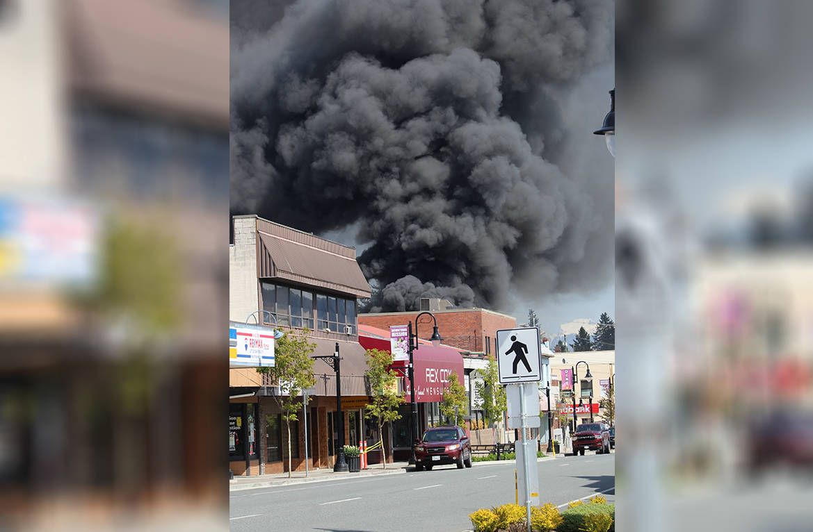 The downtown fire in Mission destroyed three businesses and impacted many more. The massive smoke cloud could be seen for miles and shows that you don't need flames to show the destruction that can be caused by a blaze. It was one of the most read stories in Mission. (Kevin Mills/Mission City Record)