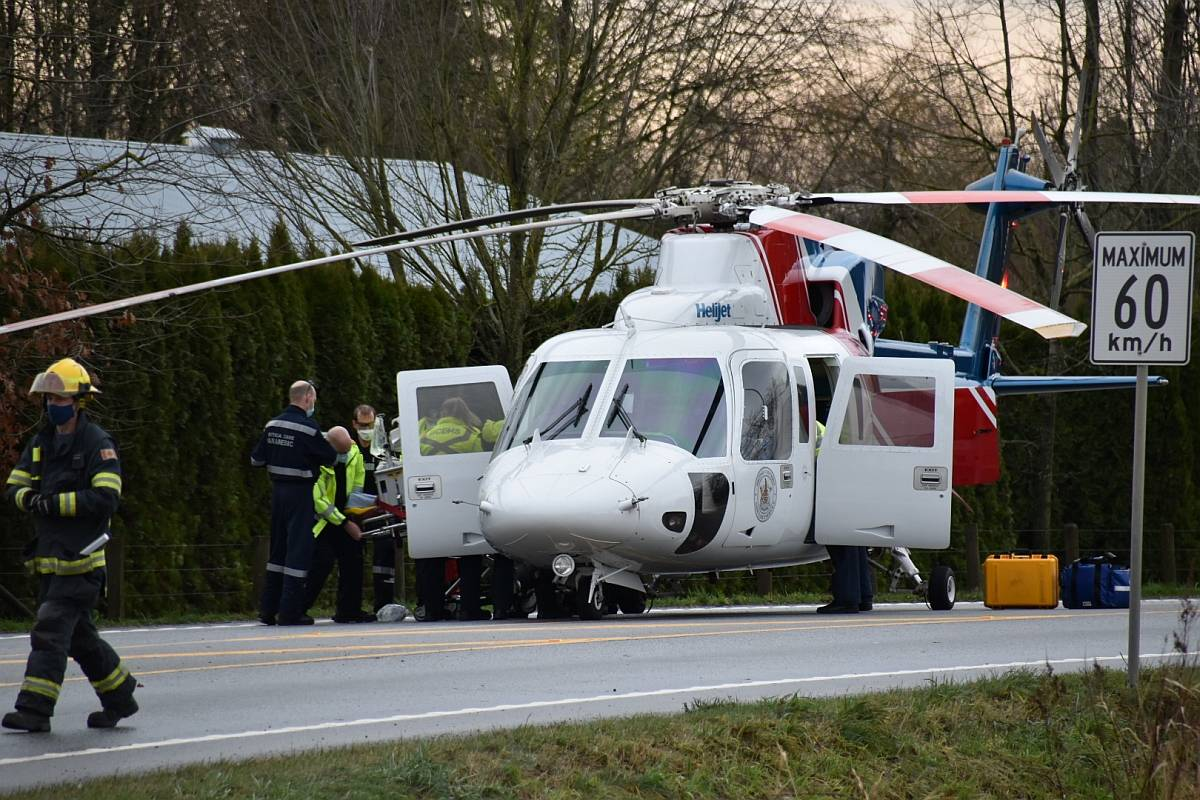 Around 1:30pm Boxing Day, Township of Langley crews responded to reports of a serious MVA at 256th St & 16th Ave. (Curtis Kreklau South Fraser News Services/special to Langley Advance Times)