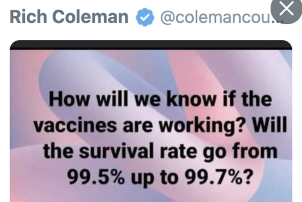 A screenshot of Rich Coleman's deleted tweet. (Twitter/Special to the Langley Advance Times)