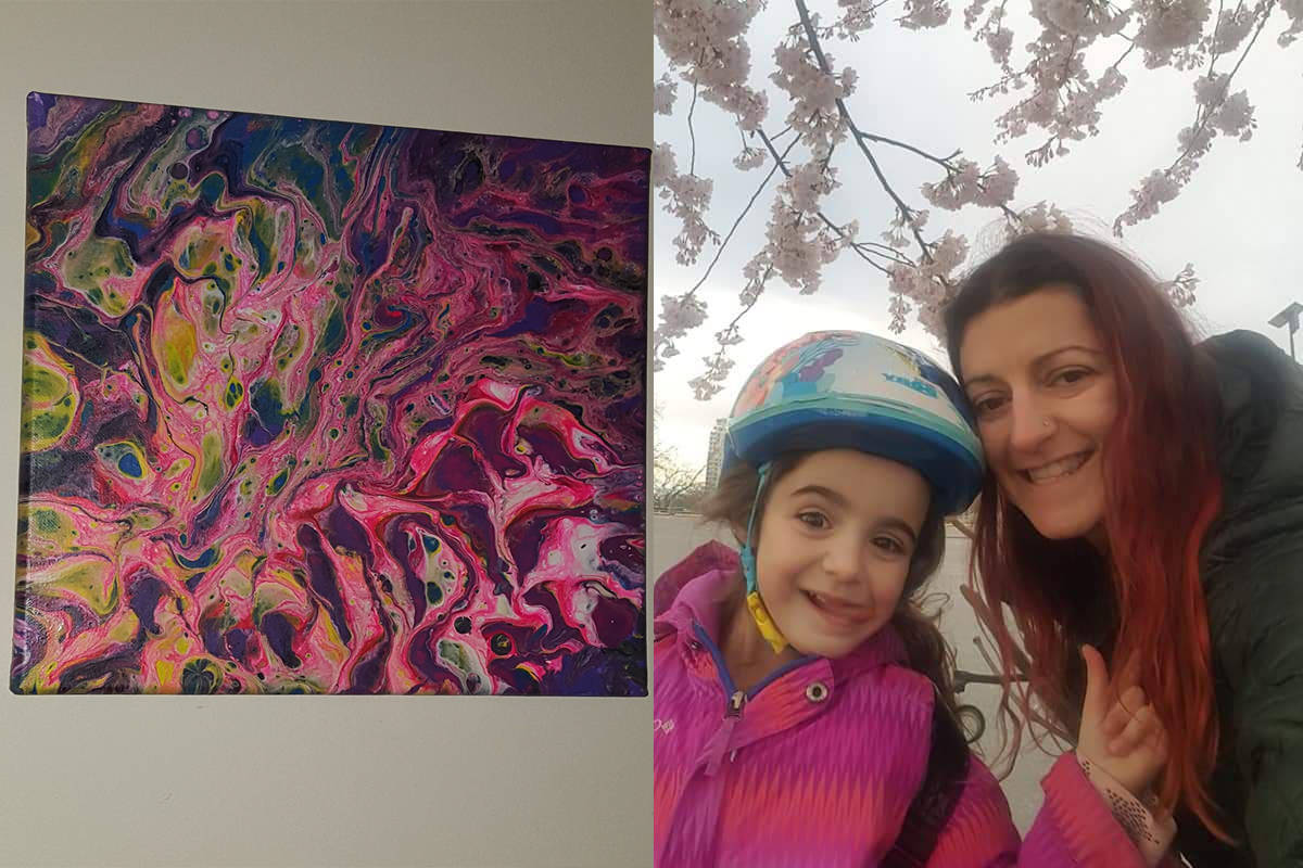 Elida Nimani and her five-year-old daughter have used their extra time to create acrylic pouring paintings. (Courtesy of Elida Nimani)