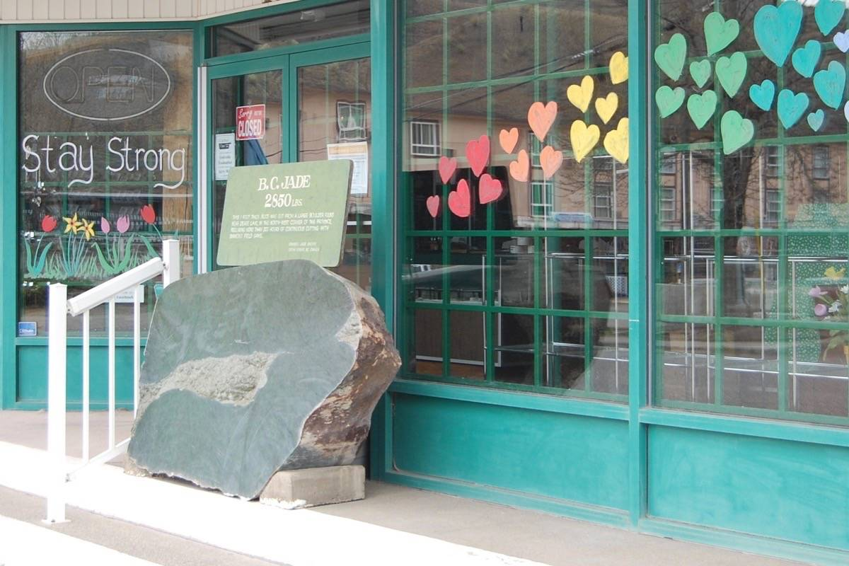 The jade boulder stolen from outside the Cariboo Jade Shop in Cache Creek on Dec. 19, pictured in May 2020. (Photo credit: Barbara Roden)