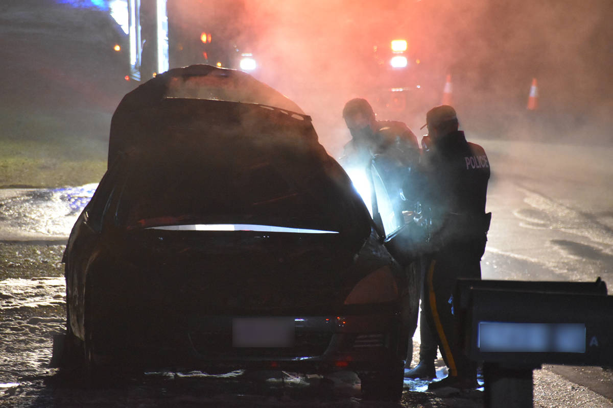 Around 8 p.m. Monday, Dec. 29, 2020 Township of Langley crews responded to multiple reports of a vehicle fire in the 21400-block of 76th Avenue in the Yorkson neighbourhood, shortly after a shooting was reported in Surrey. (Curtis Kreklau/Special to Langley Advance Times)