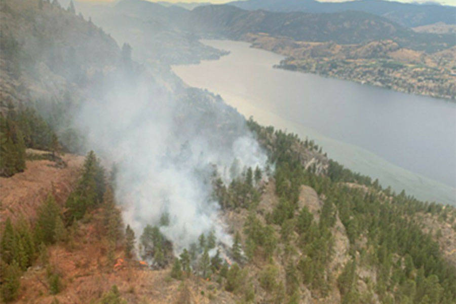 Fire crews battled Christie Mountain Wildfire near Penticton in summer, but the overall fire season was lighter than usual. Do you know which year was the worst for wildfires in British Columbia? (BC Wildfire Service photo)