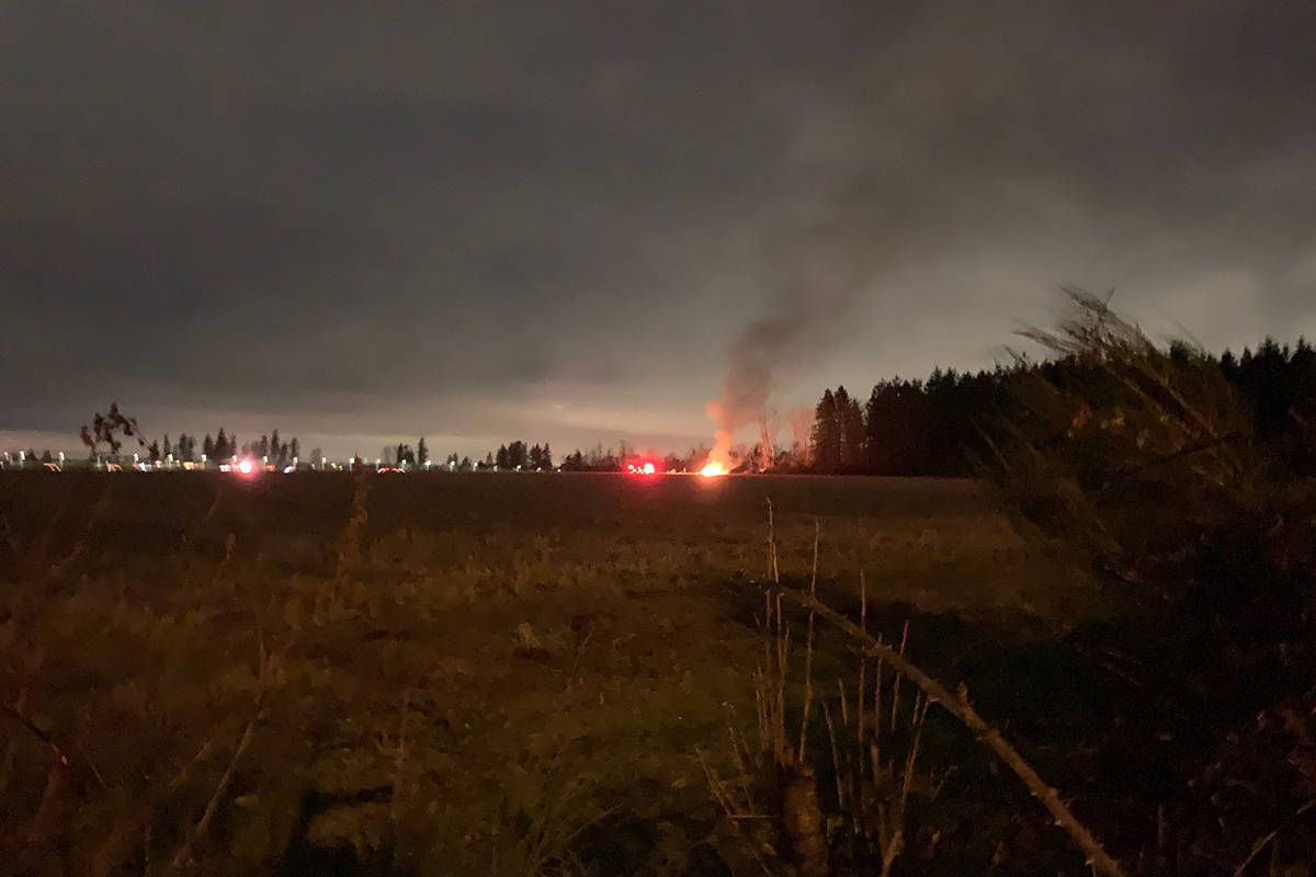 Surrey firefighters responded to a report of a shrub fire in the 3600-block of 192nd Street around 5 p.m. on Monday, Dec. 28, 2020, which turned out to be someone burning garbage. (Submitted photo)