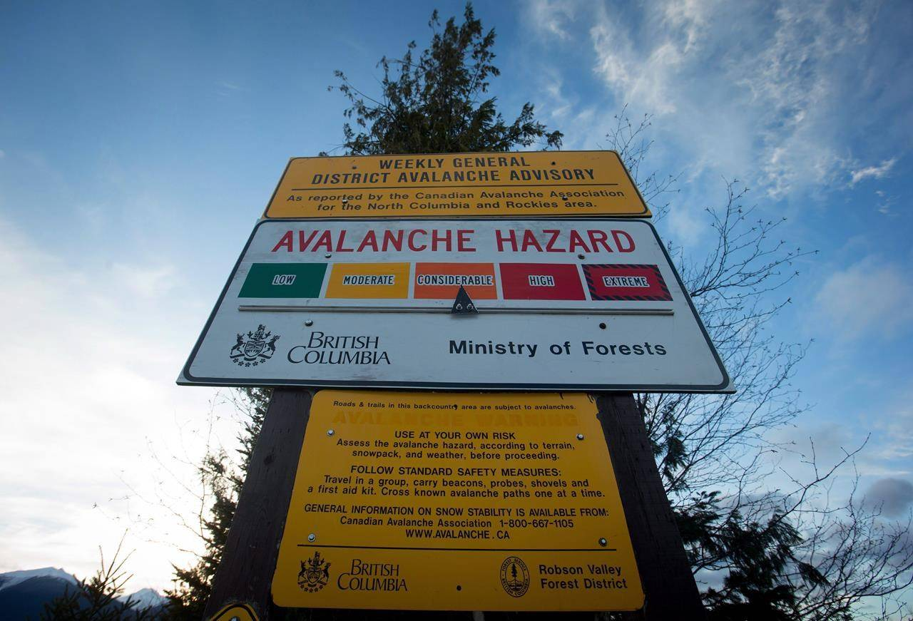"A sign showing an avalanche hazard warning of ""considerable"" is seen at a parking lot near Mount Renshaw outside of McBride, B.C., on Saturday January 30, 2016. Two men have died in an avalanche north of Whistler, British Columbia. A statement from RCMP says the victims were snow biking when they were reported missing late Monday near Goat Peak, a popular backcountry destination outside Pemberton. THE CANADIAN PRESS/Darryl Dyck"
