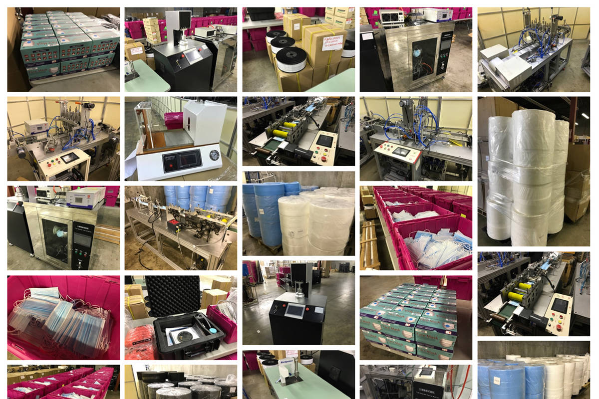 Photos of PPE-manufacturing equipment and face masks to be auctioned in Surrey. (Photo: ableauctions.ca)