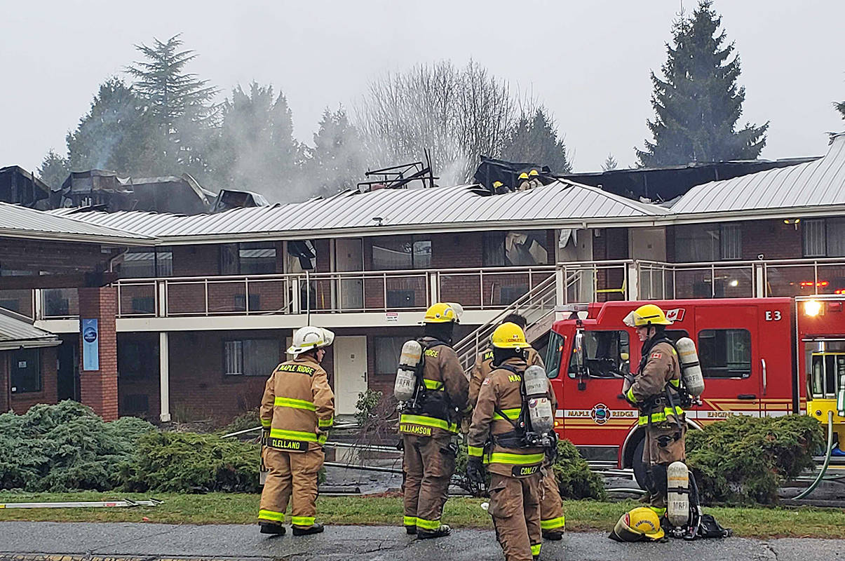 There was obvious extensive damage at the Art Infiniti Hotel in Maple Ridge. Firefighters were on scene at about 4 a.m. on New Year's Eve. (Neil Corbett/The News)
