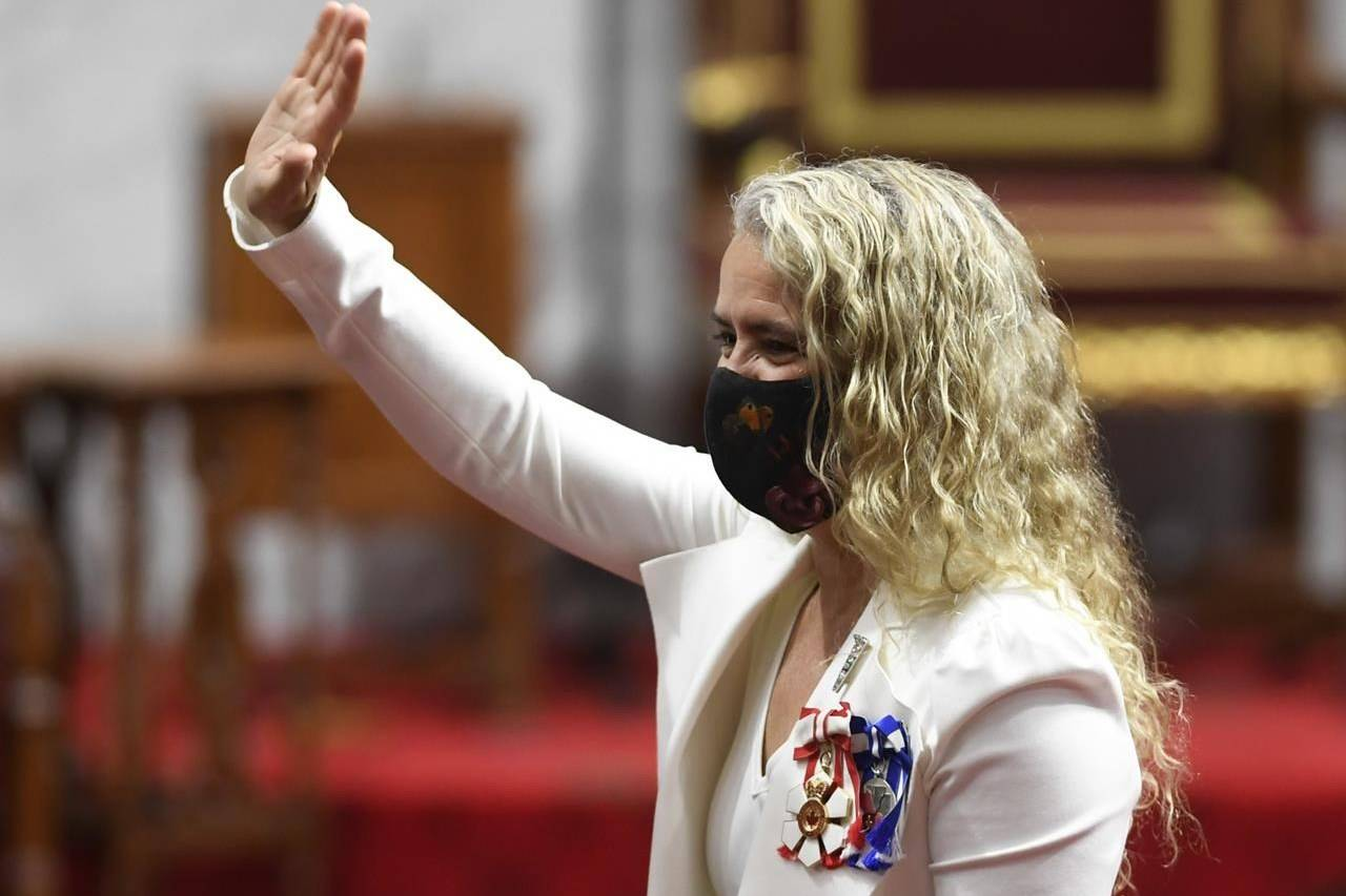 Gov.Gen. Julie Payette gives a wave as she waits before delivering the throne speech in the Senate chamber in Ottawa on Wednesday, Sept. 23, 2020. THE CANADIAN PRESS/Adrian Wyld