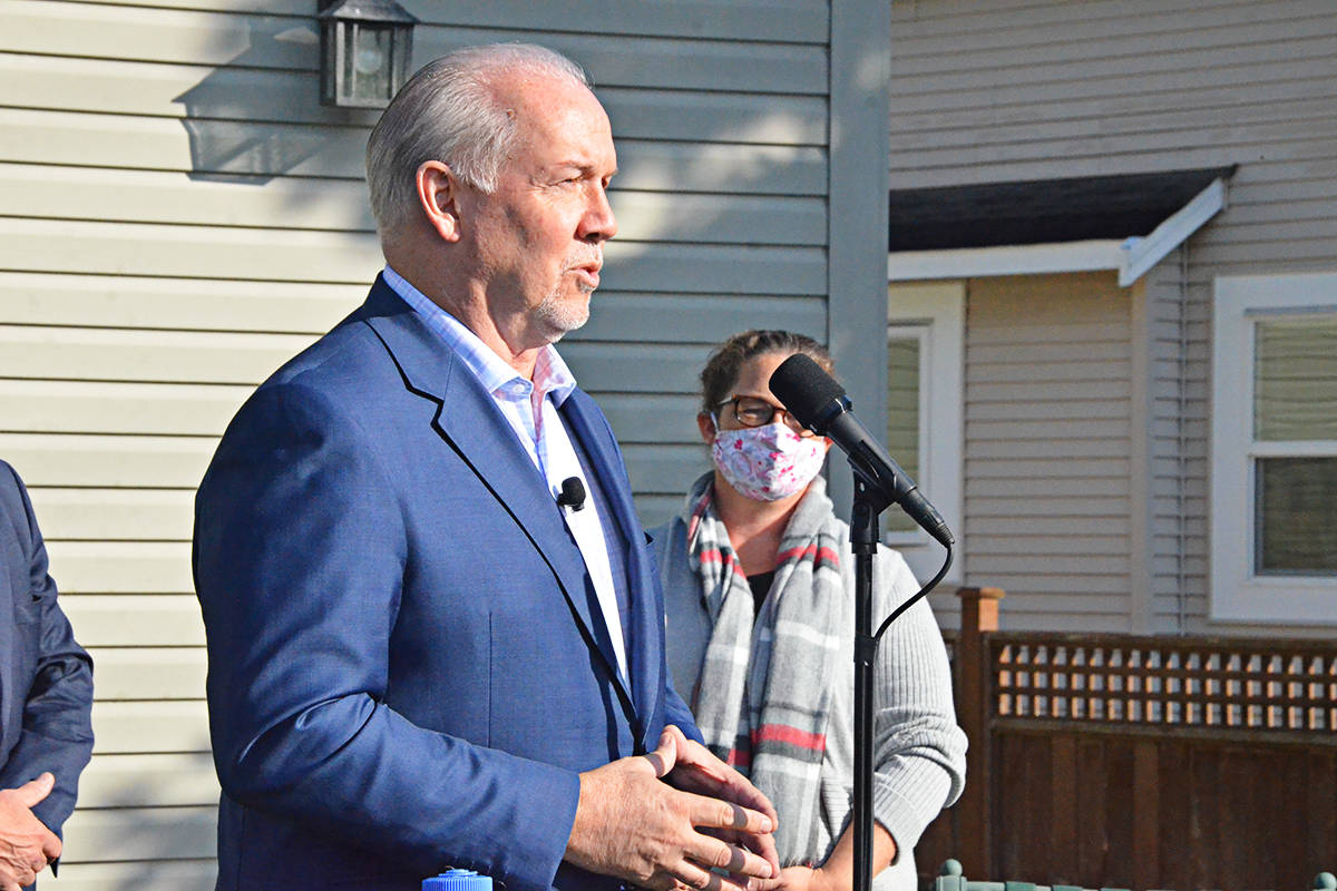 John Horgan brought the NDP campaign to Langley on Wednesday, Oct. 21, just three days before the vote(Matthew Claxton/Langley Advance Times)