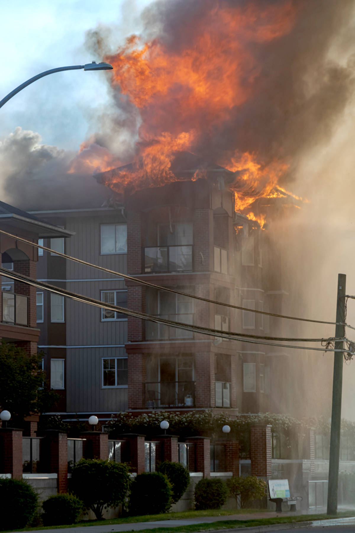 Madison Place was gutted by fire, with the worst damage on the upper floors. (Ed Mallett/Special to the Langley Advance Times)