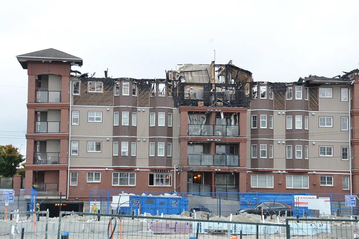 Fire destroyed the top floor of Madison Place in Langley City in July 2020 but the entire building had to be evacuated. More than 40 families were displaced by the fire. (Langley Advance Times files)