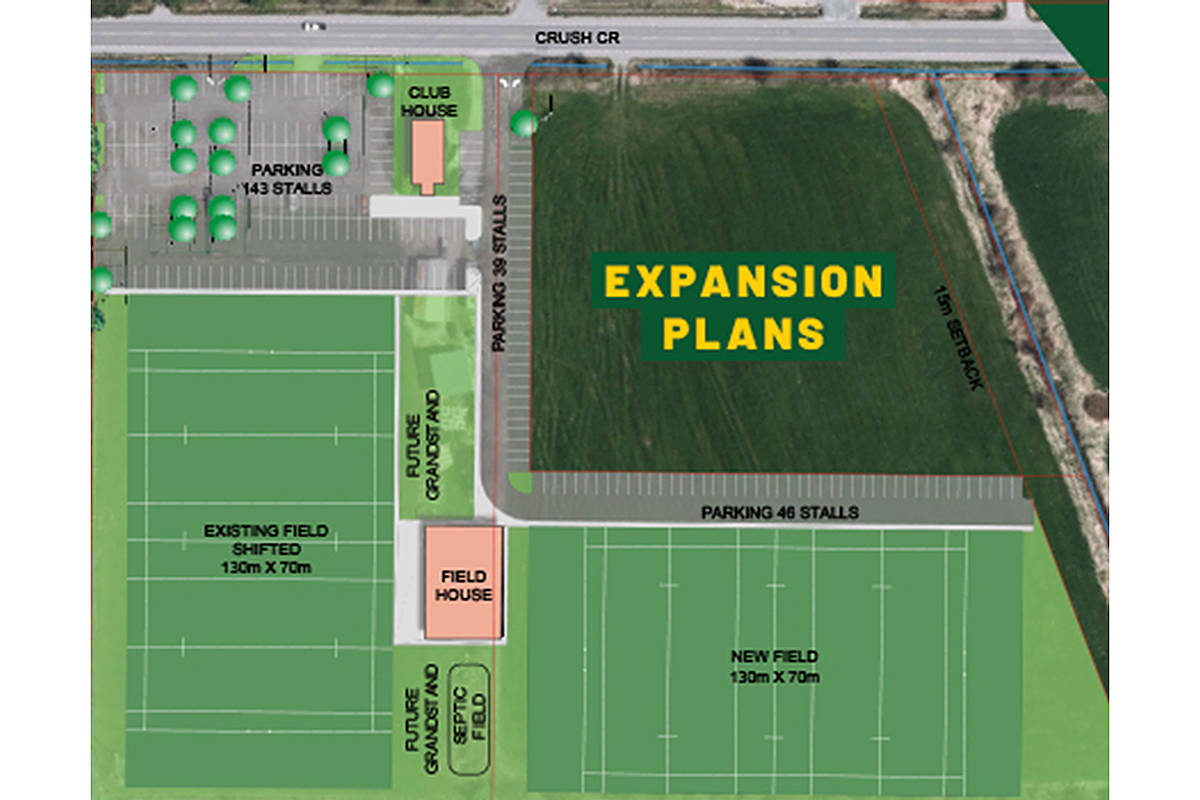 There will be two playing fields at the Langley Rugby Club site on Crush Crescent as a result of a deal that adds four acres (LRC)