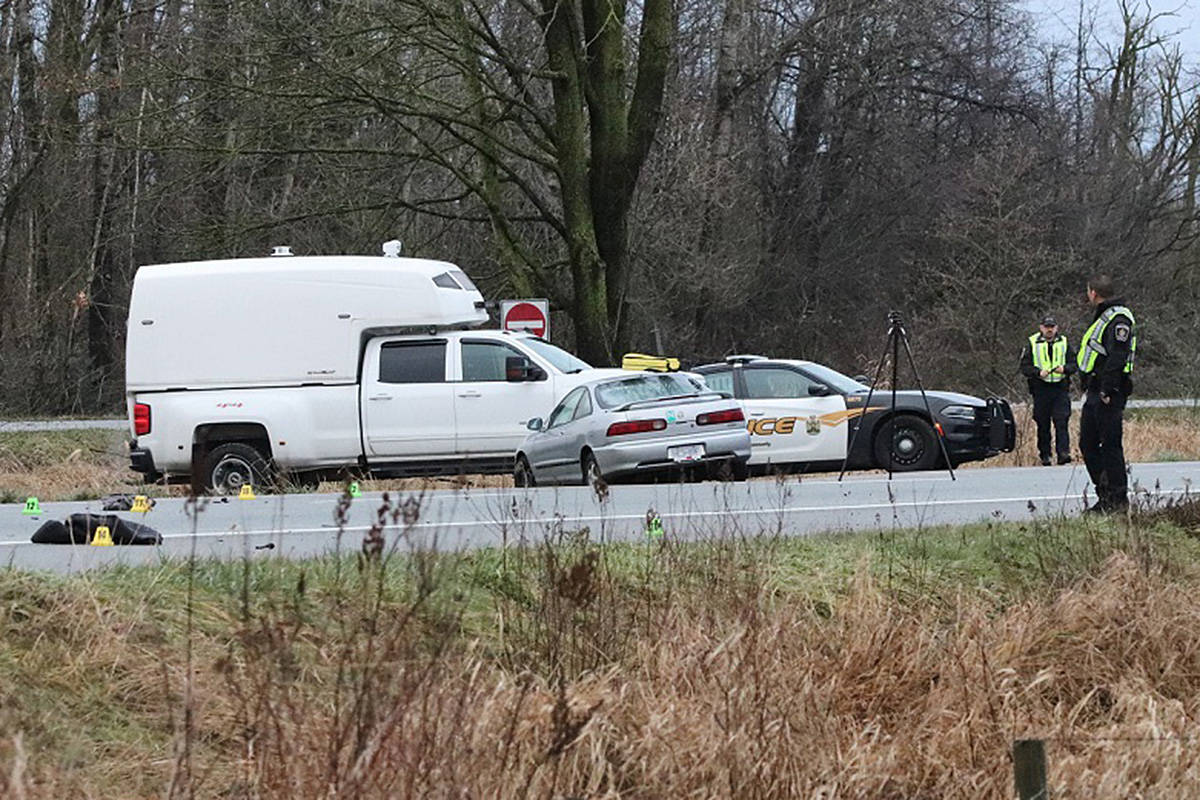 A pedestrian died after he was hit by three vehicles on Hwy. 1 east of 264 Street Sunday morning, Jan. 3, 2021, near the Langley-Abbotsford border (Shane MacKichan/special to Langley Advance Times)