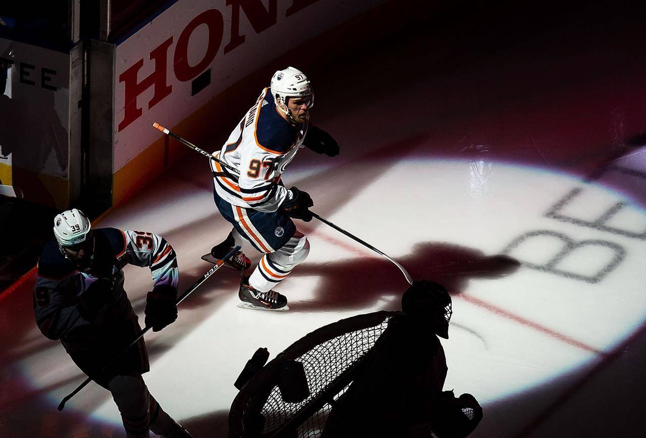 Edmonton Oilers' Connor McDavid (97) steps on to the ice prior to taking on the Chicago Blackhawks in NHL Stanley Cup qualifying round action in Edmonton on August 5, 2020. THE CANADIAN PRESS/Codie McLachlan