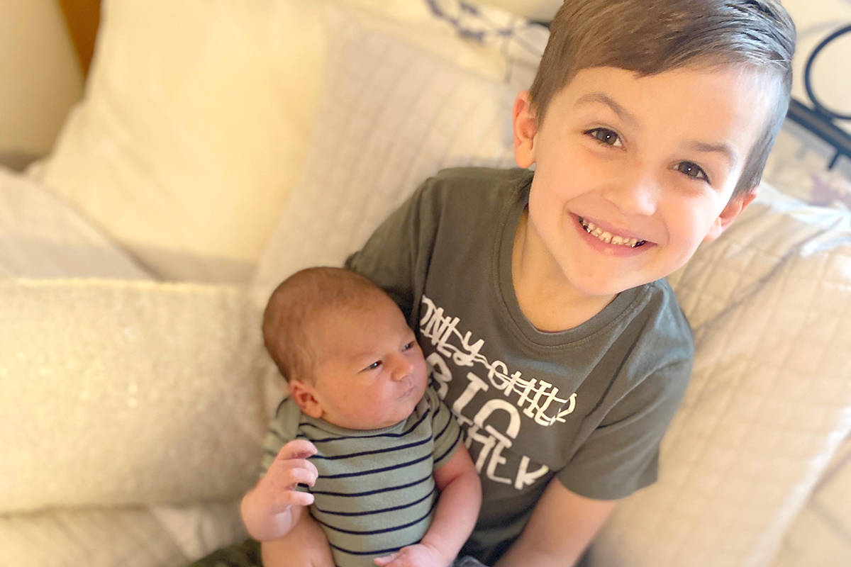 Colton Saharko, 6, become a big brother to Daxton Saharko on New Year's Day 2021. Parents Jason Saharko and Lacey Christink welcomed Langley's first baby of the new year on Jan. 1 at 3:25 a.m. at Langley Memorial Hospital. Daxton Saharko was born weighing 9 pounds 12 ounces and measured 22 inches long. (Lacey Christink/Special to Langley Advance Times)