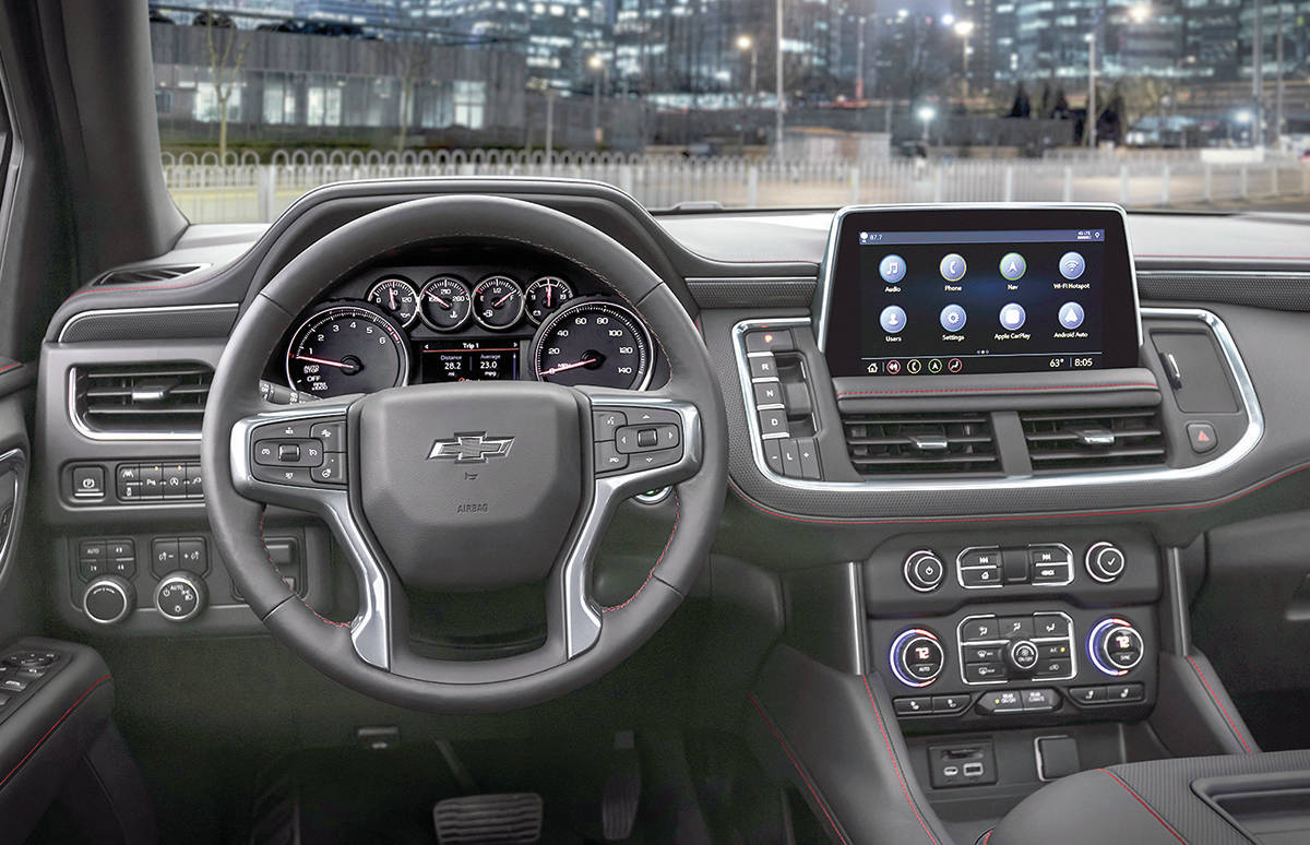 Pop quiz: What's missing from this picture? If you said the column-mounted gear selector, you would be correct. That item has been replaced with a row of buttons running alongside the standard 10.2-inch touch-screen. PHOTO: CHEVROLET