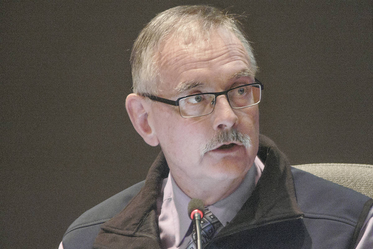 Charlie Fox in a 2018 Langley Township council meeting. (Langley Advance Times files)
