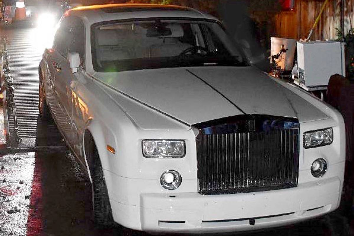 Police say a Rolls Royce Phantom stolen in February 2020 from West Vancouver was recovered from a White Rock garage on Dec. 23. (Contributed photo)