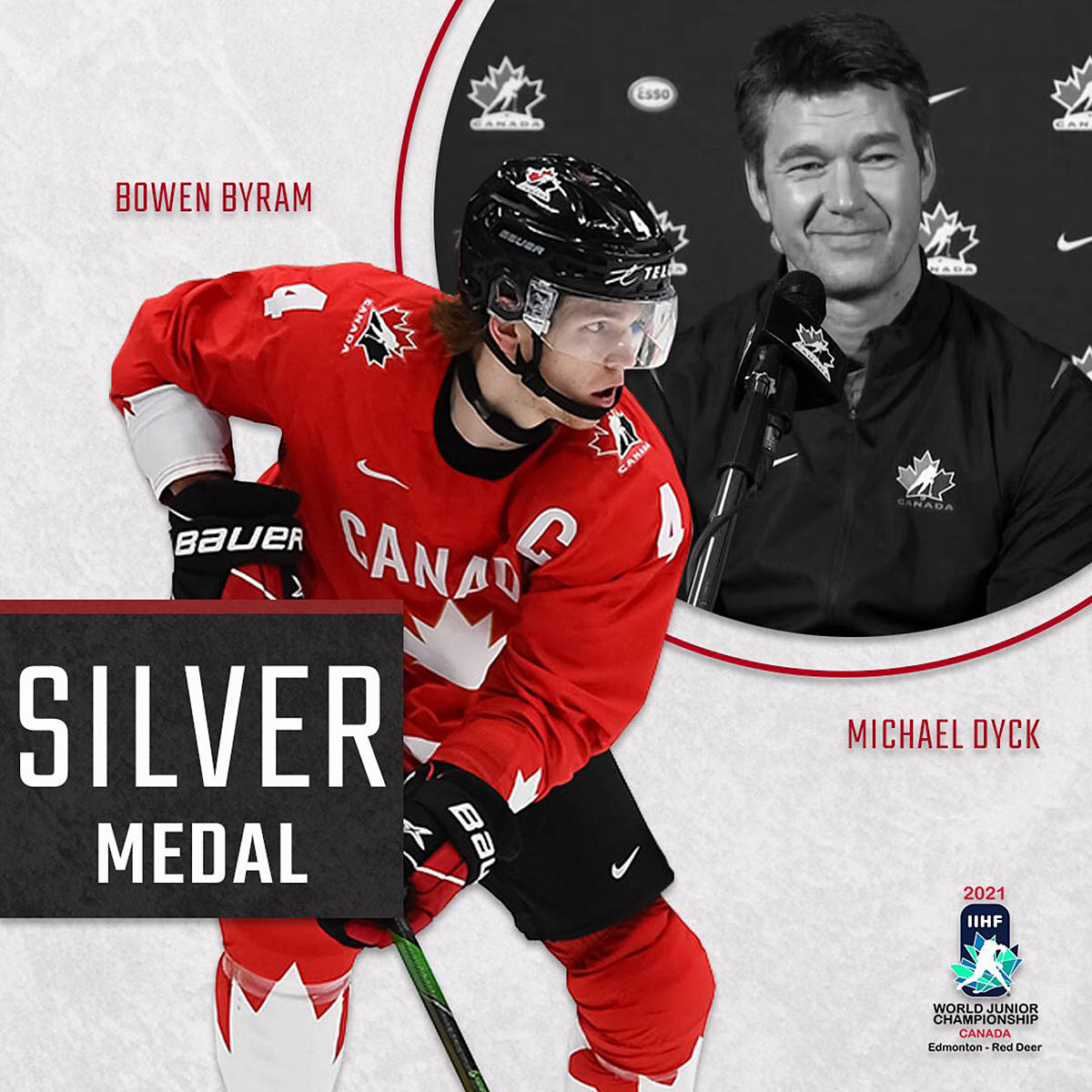 Giants defenceman Bowen Byram and head coach Michael Dyck earned silver medals for team Canada at the 2021 IIHF world juniors championship in Edmonton (Courtesy Vancouver Giants)