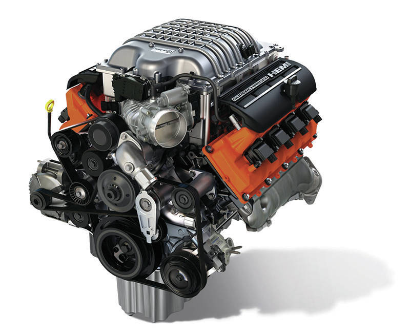 """Hellcrate"" 6.2-liter Supercharged HEMI® V-8 engine (Part # 68303089AB) is rated at 707 horsepower and 650 lb.-ft. of torque"
