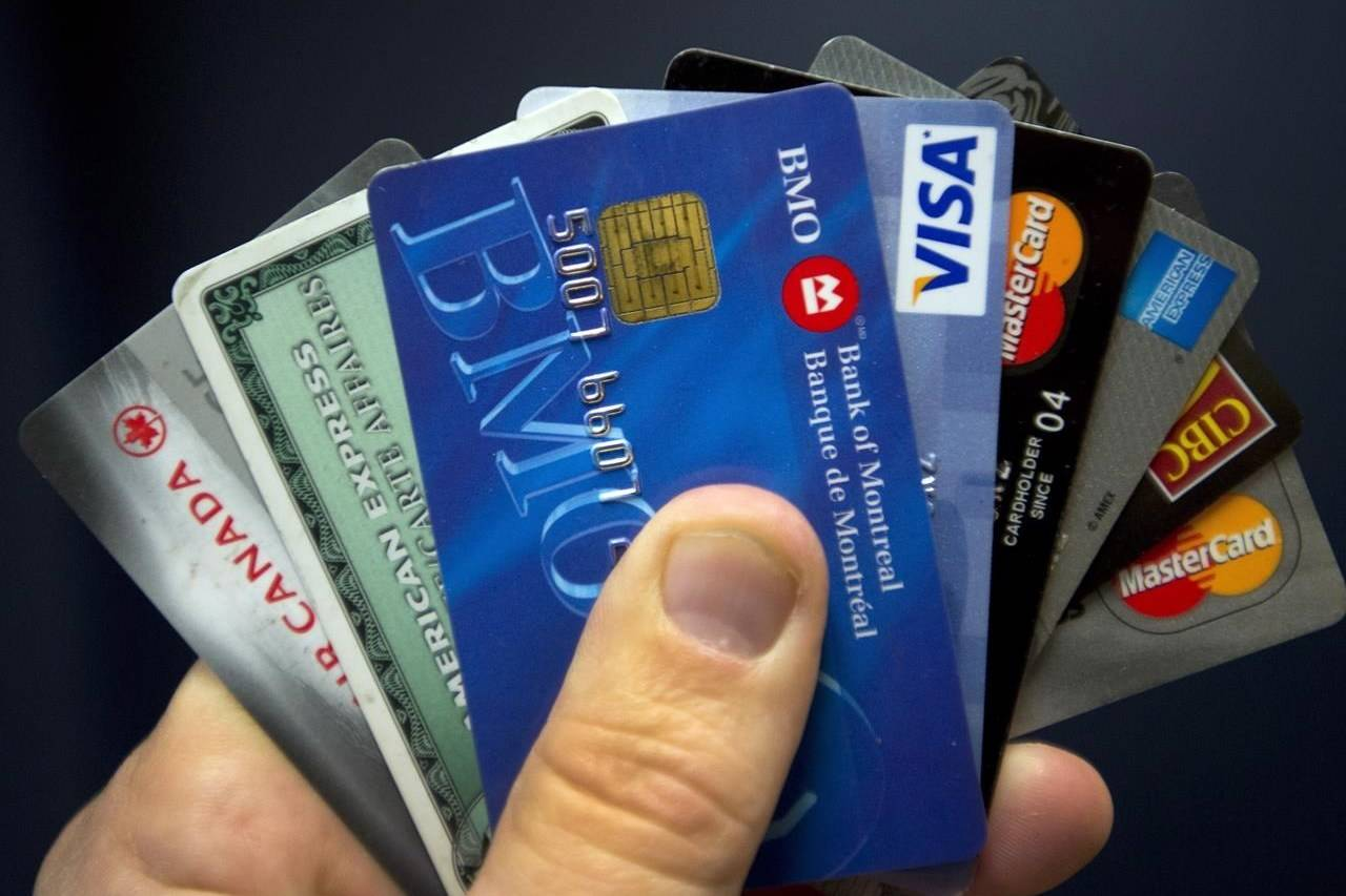 Credit cards are seen in Montreal on December 12, 2012. Industry groups say small businesses are being hammered by high credit card fees on online purchases as the shift toward e-commerce continues amid the second wave of the COVID-19 pandemic. THE CANADIAN PRESS/Ryan Remiorz