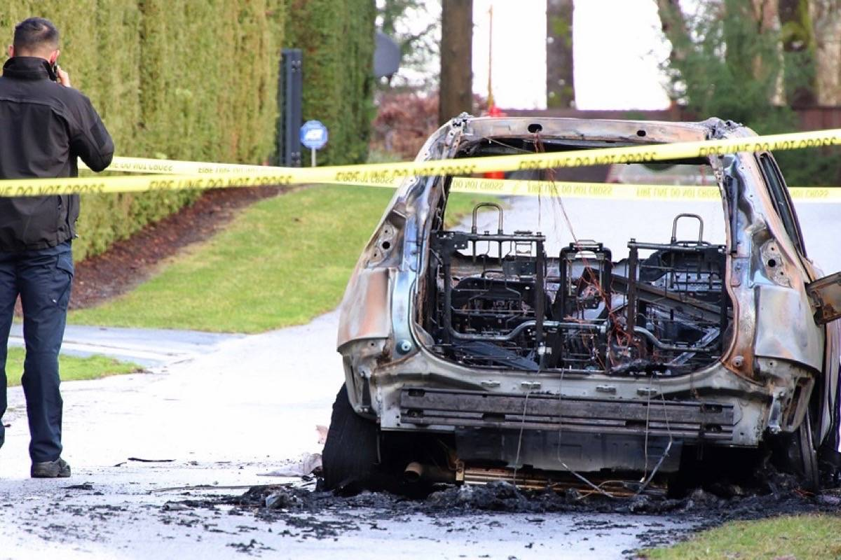 Police were alerted to a torched vehicle near 229 Street and 78 Avenue around 5:40 a.m. Jan. 6. It's unclear if the blaze is connected to a homicide in South Surrey that occurred less than an hour earlier. (Shane MacKichan photo)