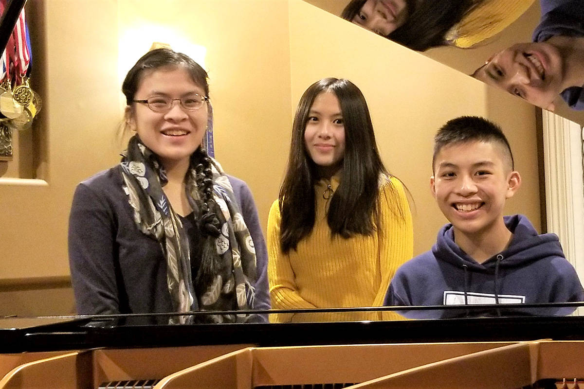 The Wong siblings, Gabrielle, 18, Catherine, 13, Dominic, 15, all received accolades at the fall edition of the KPU International Music Festival in October 2020. (Leo Wong/Special to Langley Advance Times)