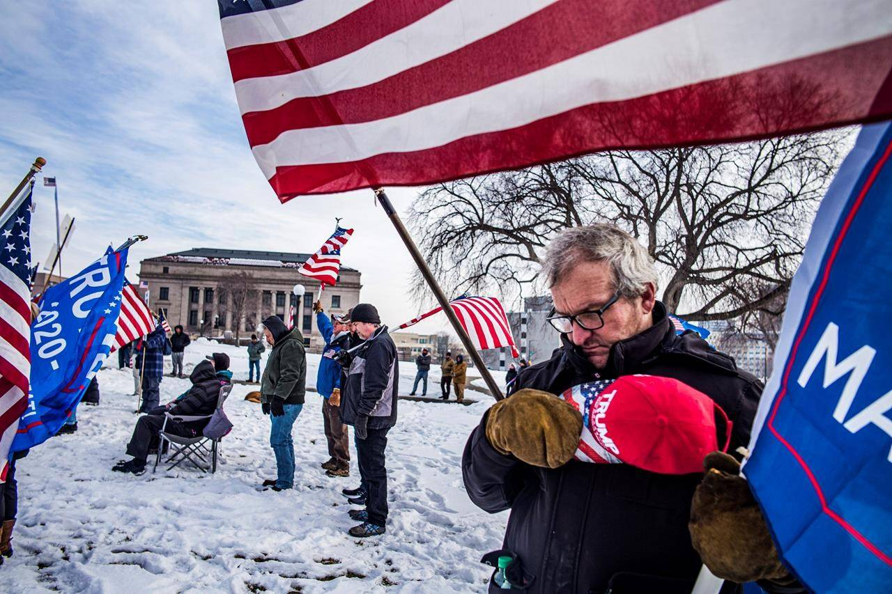 Gerald Williams attends a rally in support of President Donald Trump on Wednesday, Jan. 6, 2021 in St. Paul, Minn. (Richard Tsong-Taatarii/Star Tribune via AP)