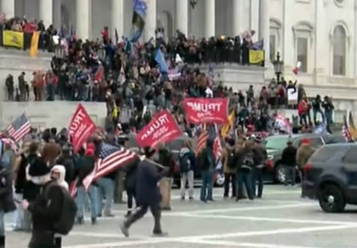 Screenshot from a YouTube stream of the Jan. 6, 2021, protest at the U.S. Capitol Building in Washington, D.C.