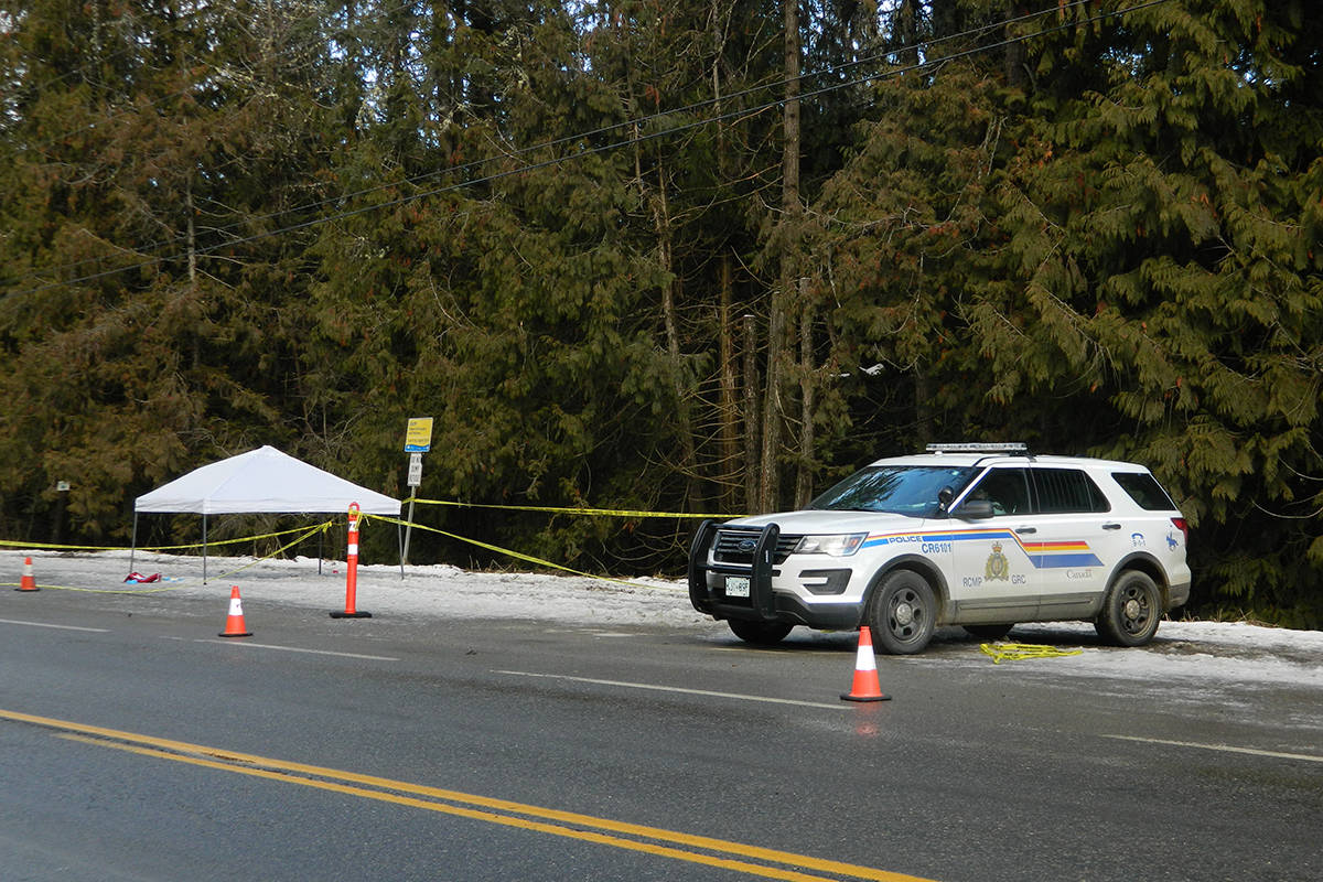 A RCMP vehicle pictured at the scene of a double homicide near Creston, Thursday, Jan. 7 (Mike Turner photo)