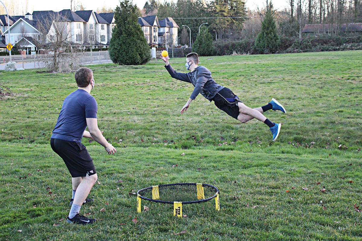 The public is invited to get involved in the sport of Spikeball. (Parker Goddard photo)