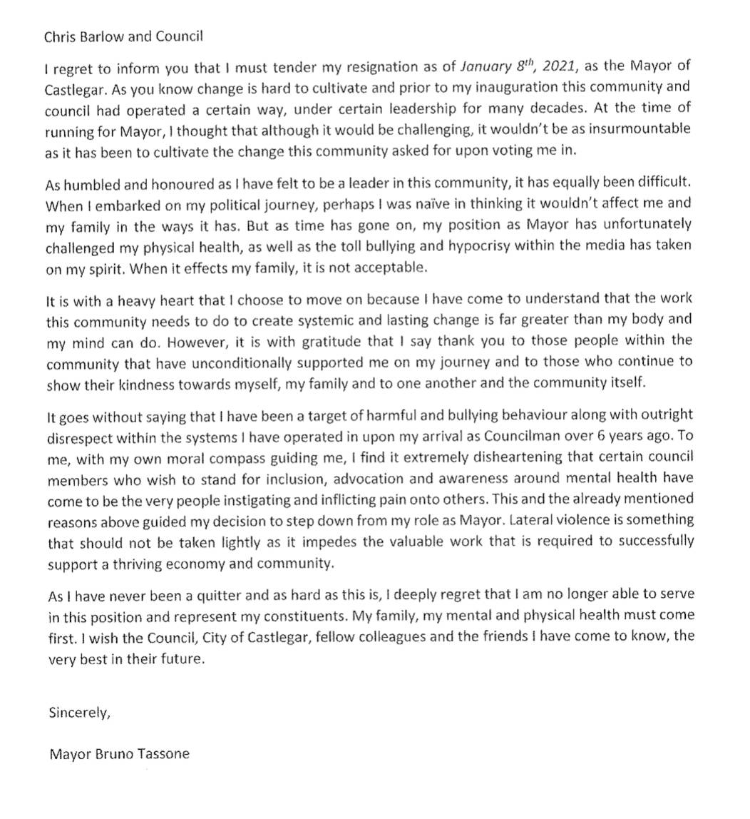 Bruno Tassone's resignation letter.