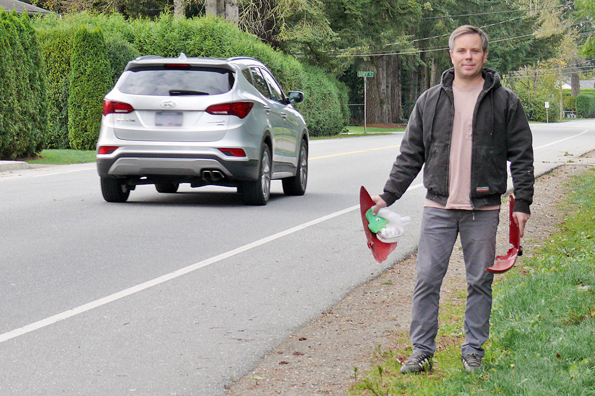 Fort Langley resident Bryan Miller makes a habit of picking up litter and he is hoping to encourage others to do the same (Dan Ferguson/Langley Advance Times)