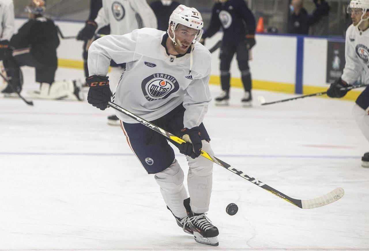 Connor McDavid (97) skates during Edmonton Oilers training camp in Edmonton, Alta., on Thursday January 7, 2021. THE CANADIAN PRESS/Jason Franson