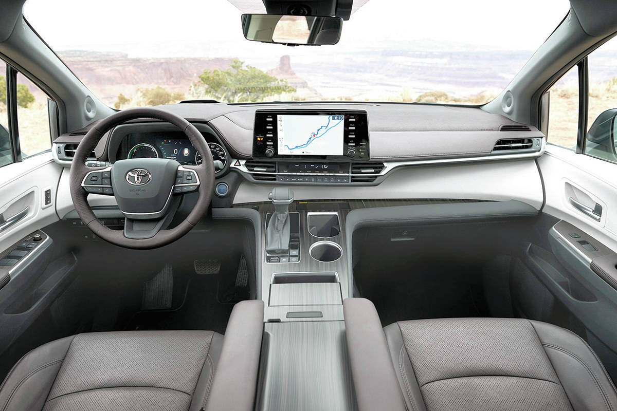 The wide centre console has plenty of storage but it also indicates just how much shoulder room the Sienna has. The dash is dominated by a nine-inch screen perched above the air vents. PHOTO: TOYOTA