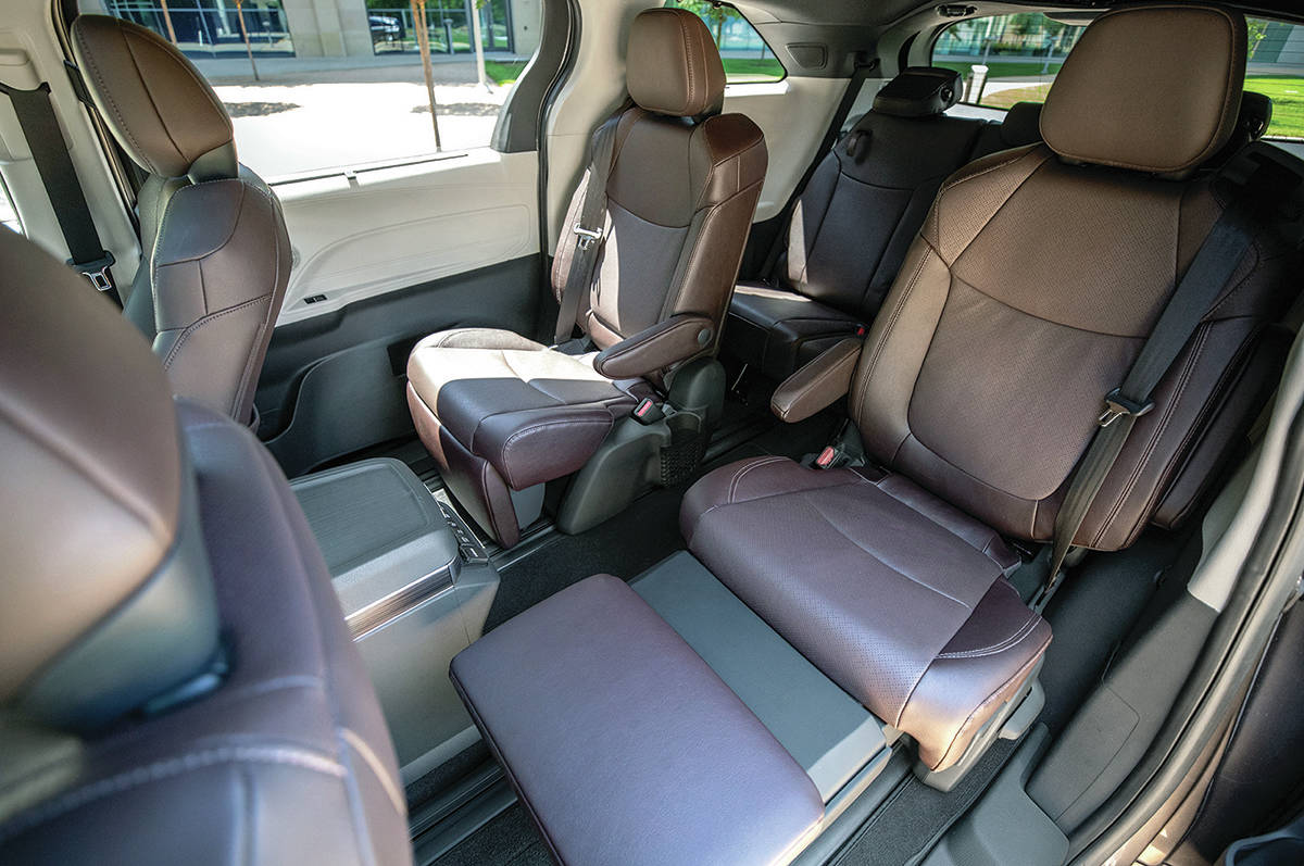 The optional second-row bucket seats recline and also have footrests.  PHOTO: TOYOTA