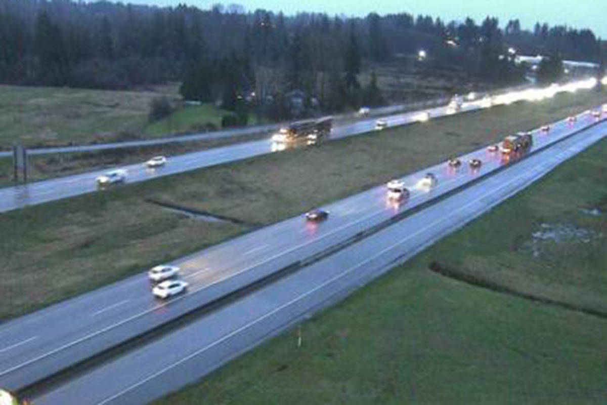 Highway 1 at the 232nd Street Overpass, looking east on Jan 11, 2021 around 7:50 a.m. (Drive BC)