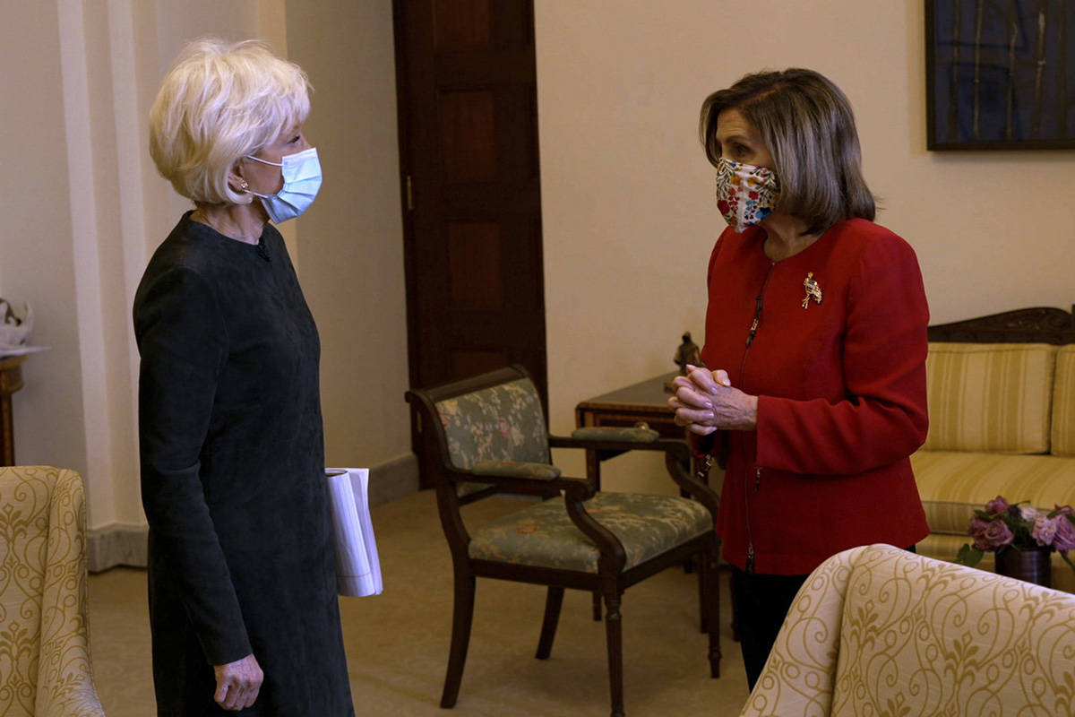 """In an image provided by CBS News and """"60 Minutes,"""" House Speaker Nancy Pelosi, D-California, right, is interviewed by correspondent Leslie Stahl, Friday, Jan. 8, 2021, at the U.S. Capitol, in Washington. It was Pelosi's first interview since the insurrection at the Capitol on Wednesday, Jan. 6. The interview aired Sunday, Jan. 10 on """"60 Minutes."""" (60 Minutes/CBSNews via AP)"""