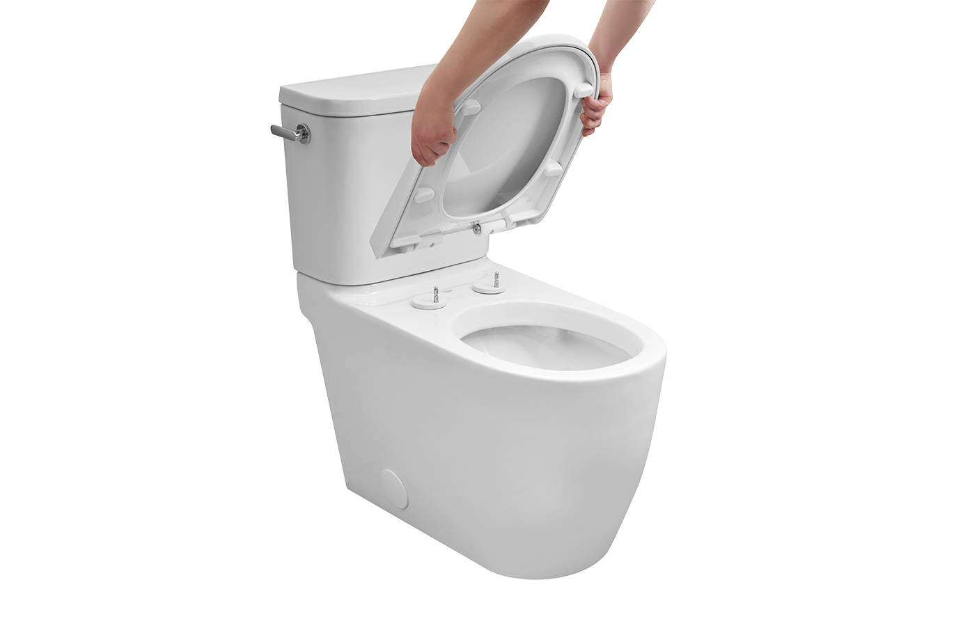 No more trying to clean in and around knobs and crevices - Grohe's quick-release toilet seat quickly clicks off the bowl, for easy cleaning.